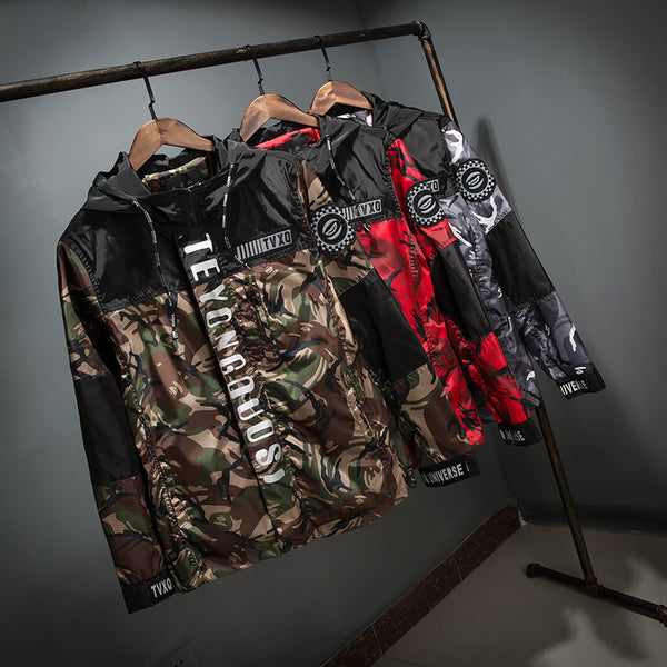 Men's camouflage reflective hooded jacket 3 colors