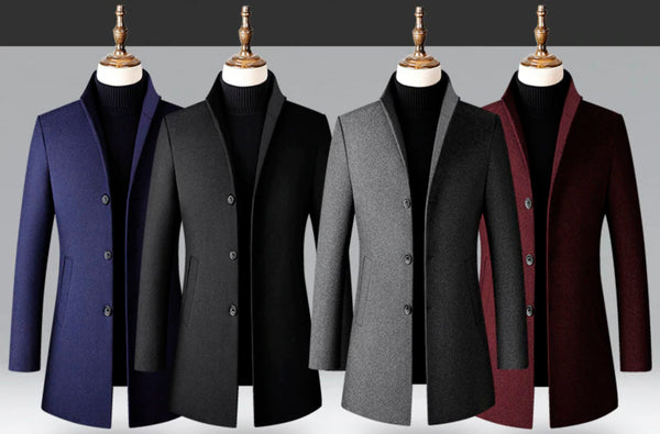 Winter Men Wool Blend Coat Thick Stand Collar Smart Casual - 4 Colors