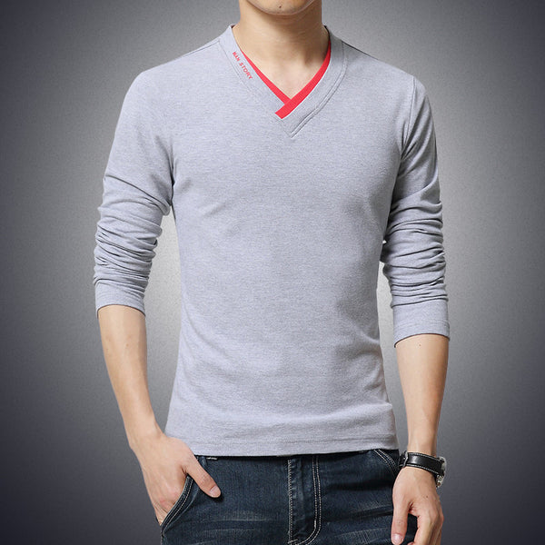 T Shirt Mens V-Neck Long Sleeve 5 colors