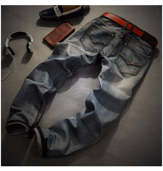 Spring Summer Straight Denim Jeans Mens 2 colors