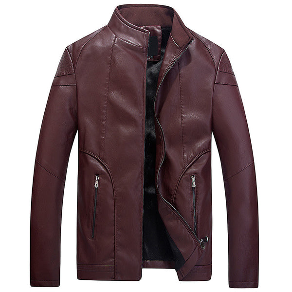 Leather Jacket Mens Warm 3 colors