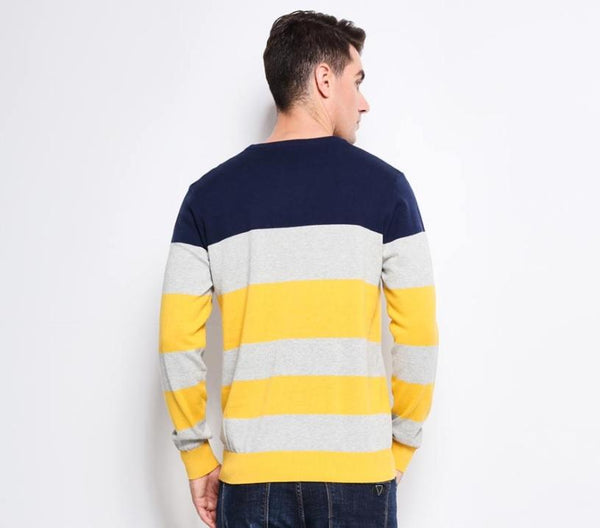 Mens sweater with horizontal stripe 3 colors