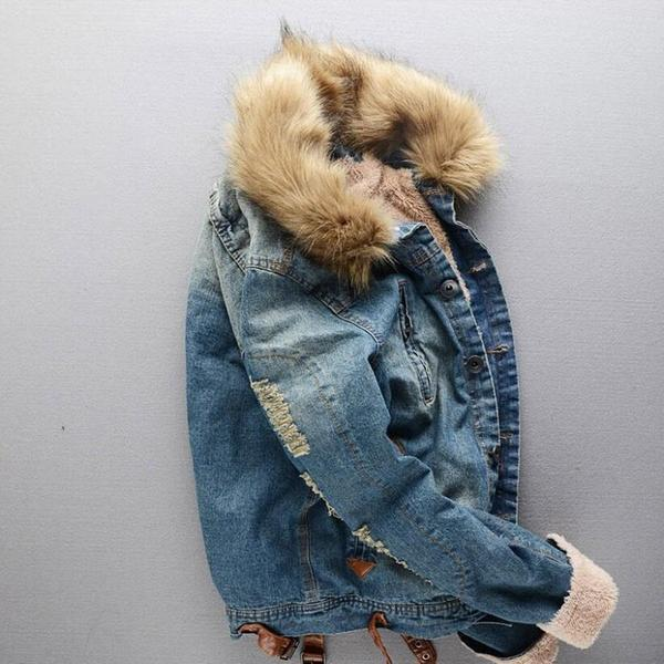 Winter men's denim jacket