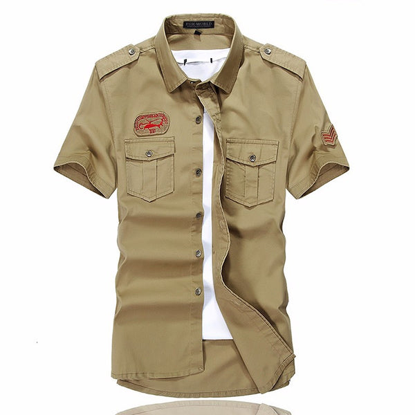 Men's Casual Short sleeved shirt military uniform style 2 colors