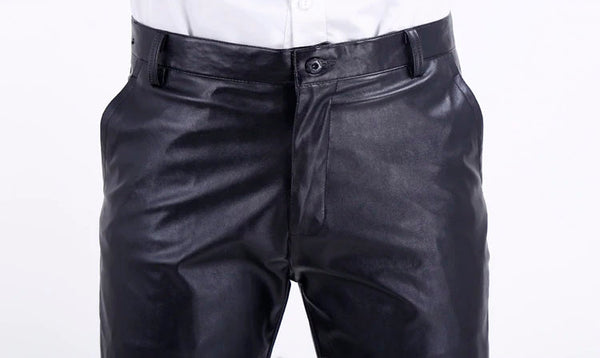 Summer PU Leather Pants Elastic Lightweight Casual Thin