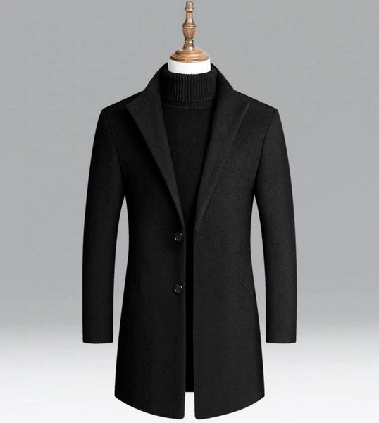 Winter Wool Men Thick Coats Slim Fit Turn Down Collar Casual 3 - collors