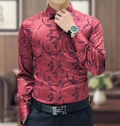 Mens Shirts Long Sleeve Floral 2 colors
