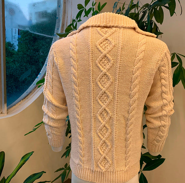 Men's Cardigan Beige Autumn Winter Thick Warm Knitwear Knitted Twist