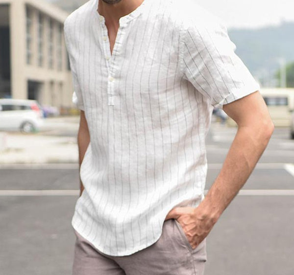 Men's striped short sleeve shirts 2 colors