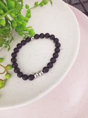 BLACK AGATE - Beaded Bracelet