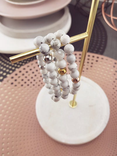 WHITE HOWLITE - Beaded Bracelet