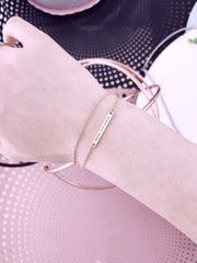 ROSE - Double Chain Petite Bar Bracelet