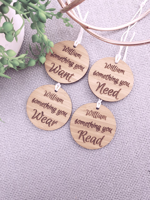 Christmas Gift Tags - CIRCULAR - WANT, NEED, WEAR, READ