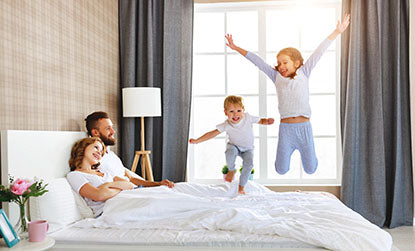 Family time in our microfiber bed sheets no ironing needed