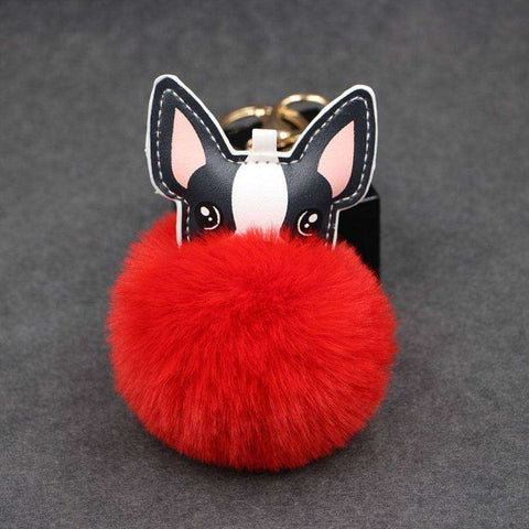 Image of Pompon Porte-clés - Rouge - Lovely bouledogue