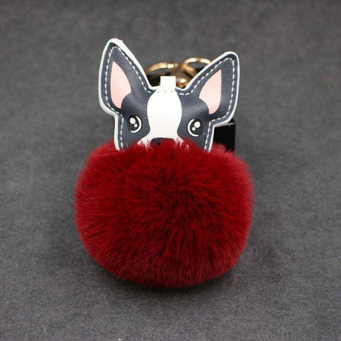 Pompon Porte-clés - Bordeaux - Lovely bouledogue