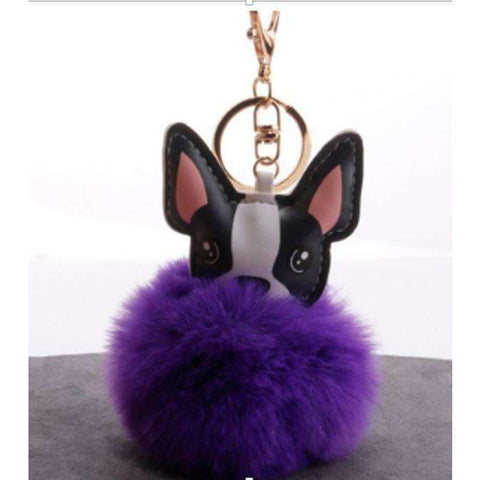 Image of Pompon Porte-clés - Violet - Lovely bouledogue