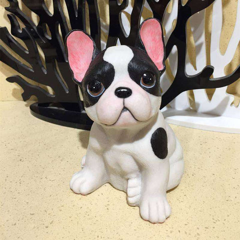 Image of Adorable Bouledogue Français en résine - Blanc - Lovely bouledogue