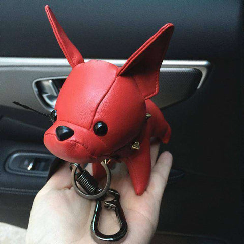 Image of Porte-clés Bouledogue Français en cuir - Rouge - Lovely bouledogue