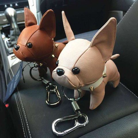 Image of Porte-clés Bouledogue Français en cuir -  - Lovely bouledogue
