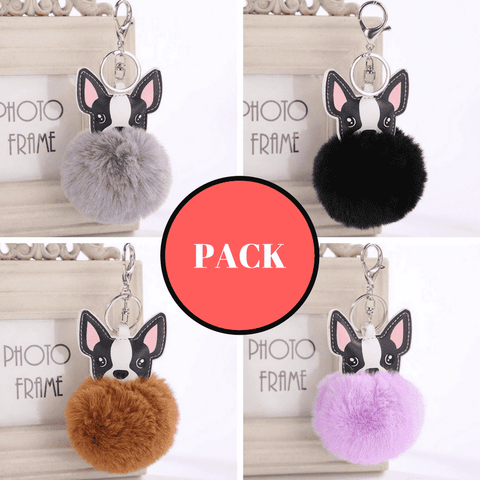Image of Pompon Porte-clés - PACK 4 PORTE-CLES (1 offert) - Lovely bouledogue