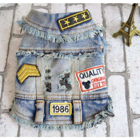 "Veste en jean ""1986"" - Bleu clair / S - Lovely bouledogue"