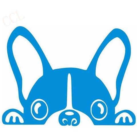 Stickers bouledogue français - bleu / 8cm x 5cm - Lovely bouledogue