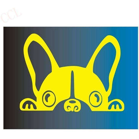 Stickers bouledogue français - jaune / 8cm x 5cm - Lovely bouledogue