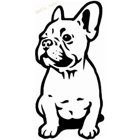 Image of Stickers Bouledogue Français (Voiture, mur, etc...) - Noir / 28 cm x 13 cm - Lovely bouledogue