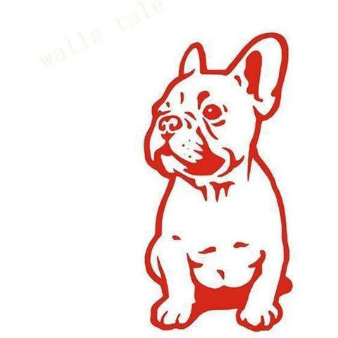 Image of Stickers Bouledogue Français (Voiture, mur, etc...) - Rouge / 28 cm x 13 cm - Lovely bouledogue
