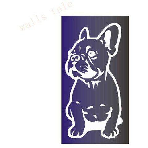 Image of Stickers Bouledogue Français (Voiture, mur, etc...) - Blanc / 28 cm x 13 cm - Lovely bouledogue