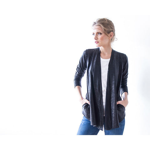 Black Metallic long sleeves Jacket with side pockets  2011
