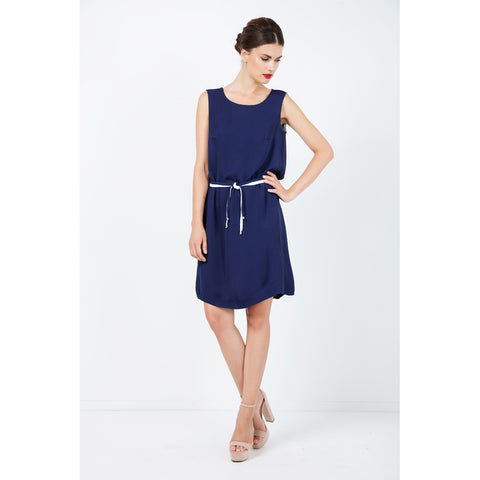 Solid Colour Straight Dress with Belt