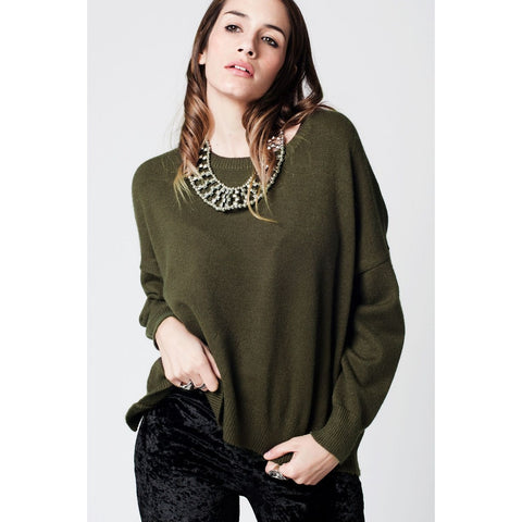 Green soft knit jersey with dropped shoulders