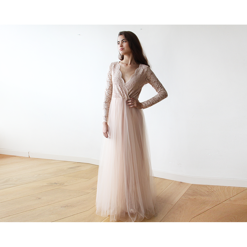 Blush Pink Tulle and Lace Long Sleeve maxi dress 1125 - Ladies wishlist