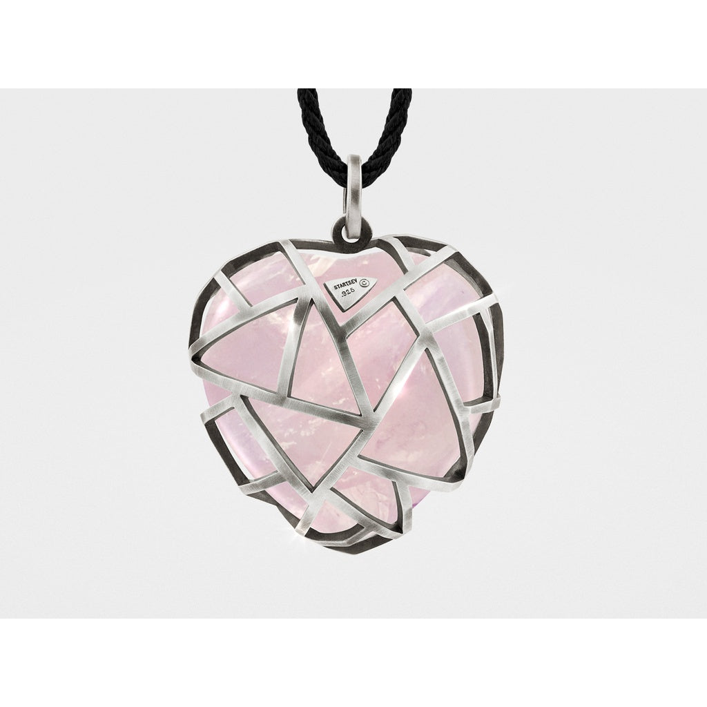 Caged Heart Pendant Necklace with Rose Quartz - Ladies wishlist