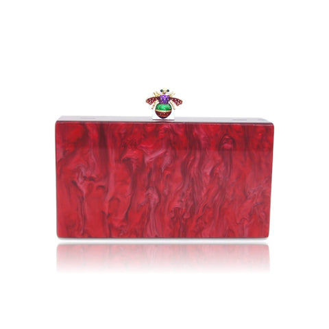 Bee Red Pearl Acrylic Box Clutch - Ladies wishlist