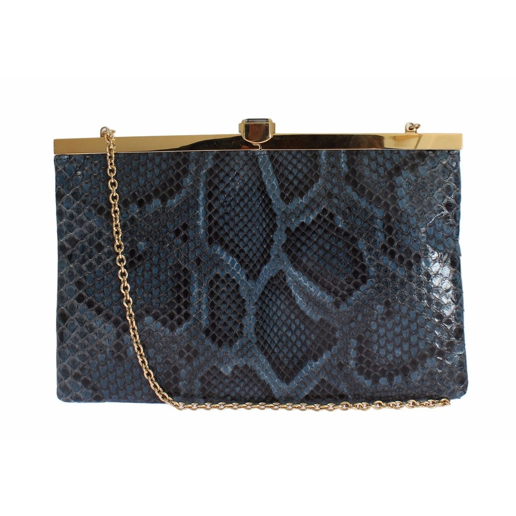 Dolce & Gabbana Bag Blue Python Snakeskin Shoulder Crystal Clutch