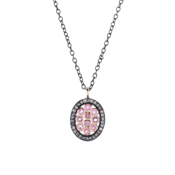 Diamond Oval Pink Tourmaline Necklace