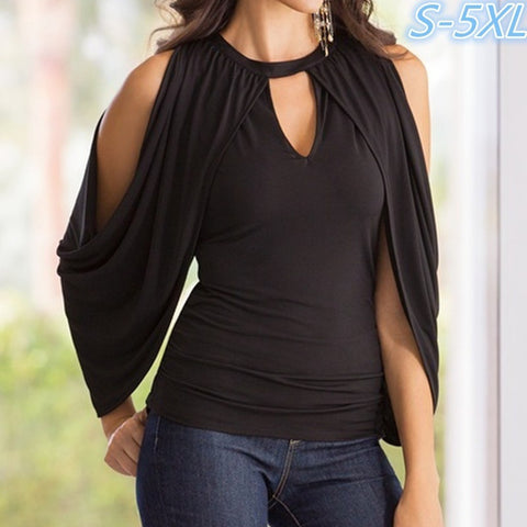 Women Fashion Long Sleeve O-neck Hollow Off Shoulder Casual Slim Black Tops (S-XXXXXL)