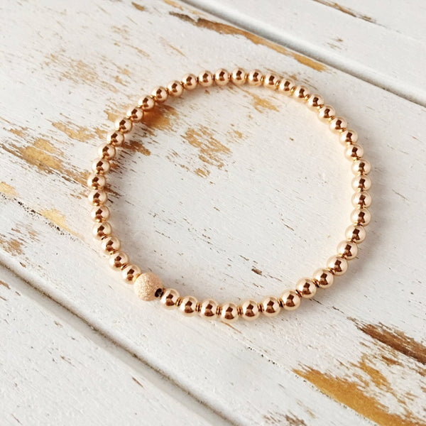 Beautiful 4mm Rose Gold Filled Bracelet with 5mm Stardust Bead - Ladies wishlist
