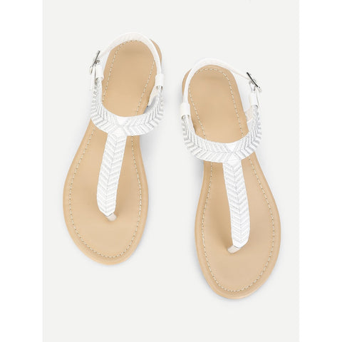 Embroidery Detail Toe Post Flat Sandals
