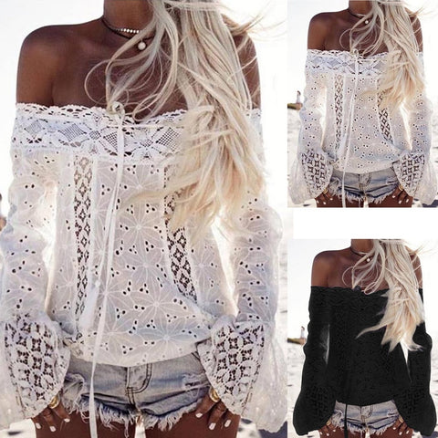 Attractive Women Off Shoulder Long Sleeve Lace Loose Blouse Tops T-Shirt - Ladies wishlist