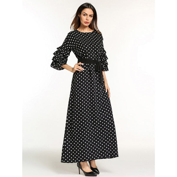 Flounce Sleeve Tie Waist Dot Print Longline Dress