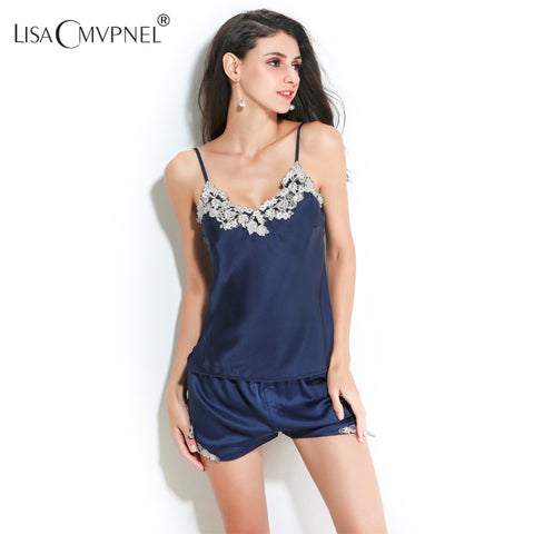 High Quality Embroidery Women Pajamas V-Neck Nightdress+Short Set