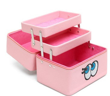 Waterproof Large Capacity Makeup Box Lovely Eyes with Compartment Portable Bag