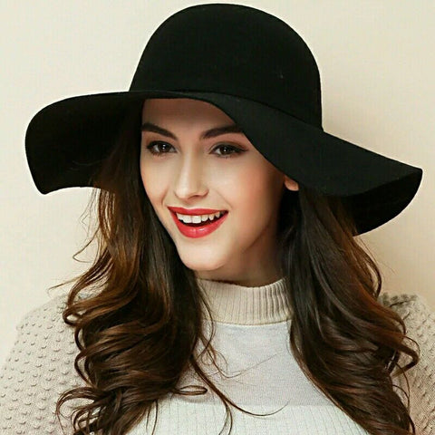 Floppy Wide Brim Wool Felt Fedora Cloche Hat - Ladies wishlist
