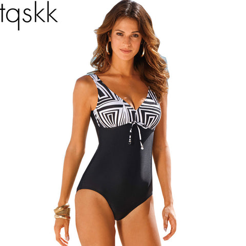 One Piece Swimsuit Striped Pattern Type