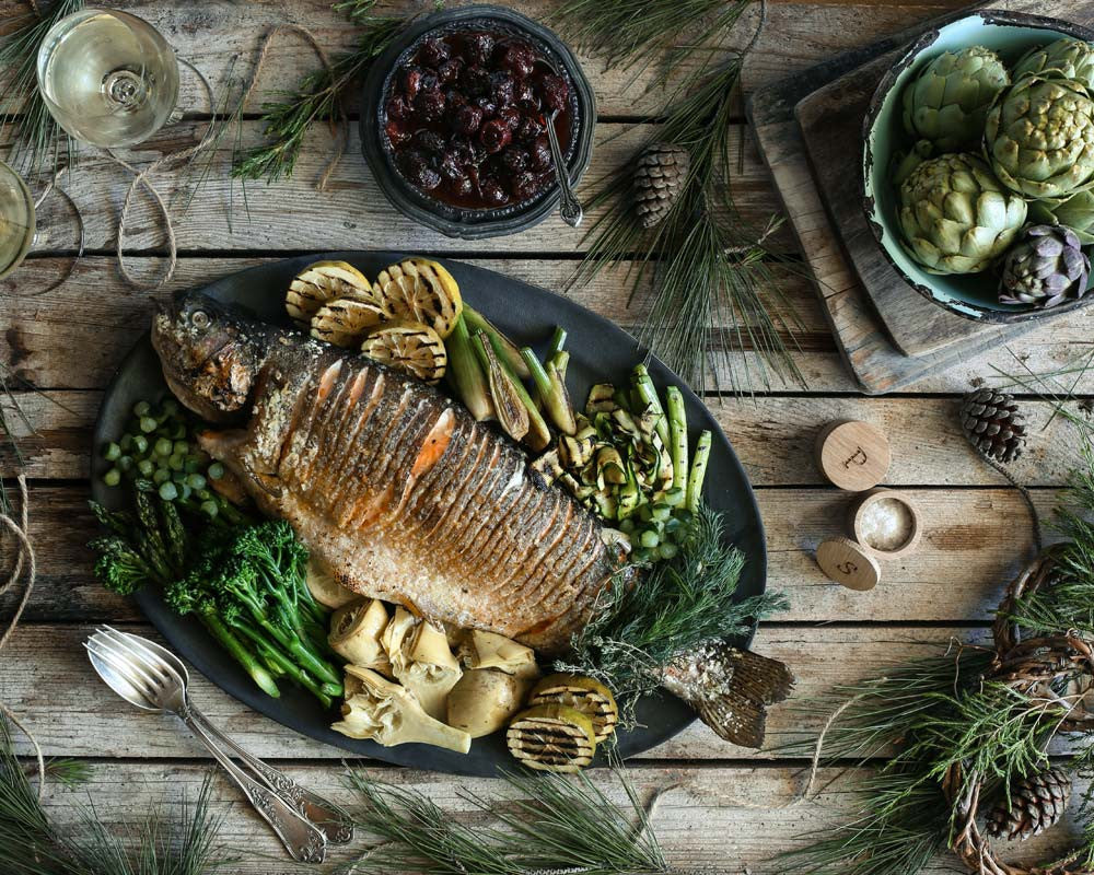 Festive Recipe: Whole Roasted Franschhoek Salmon Trout & interesting greens