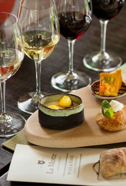 Food and wine pairing with different types of white wine and red wine
